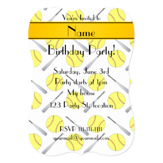 Personalized name white softball pattern card