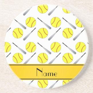 Personalized name white softball pattern coasters