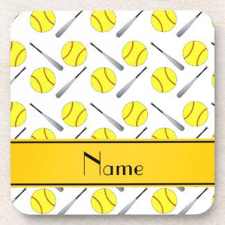 Personalized name white softball pattern beverage coasters