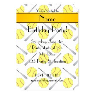 Personalized name white softball pattern 5x7 paper invitation card