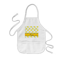 Personalized name white softball pattern kids' apron