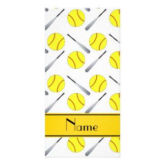 Personalized name white softball pattern personalized photo card