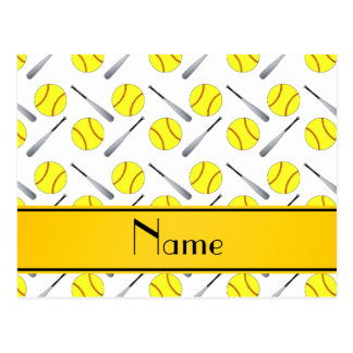 Personalized name white softball pattern postcard