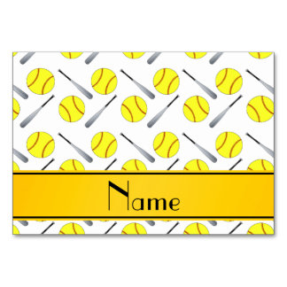 Personalized name white softball pattern table cards