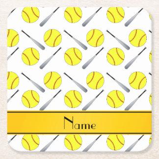 Personalized name white softball pattern square paper coaster