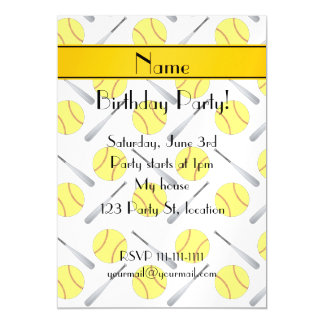 Personalized name white softball pattern magnetic invitations