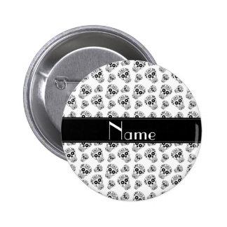 Personalized name white sugar skulls 2 inch round button