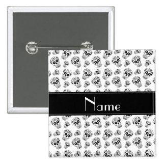 Personalized name white sugar skulls 2 inch square button
