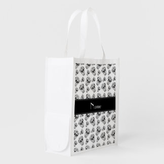 Personalized name white sugar skulls grocery bag