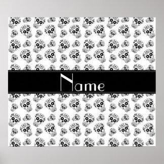 Personalized name white sugar skulls poster