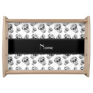 Personalized name white sugar skulls service tray