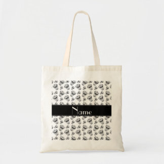 Personalized name white sugar skulls tote bag