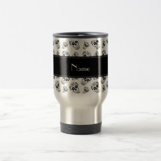 Personalized name white sugar skulls travel mug