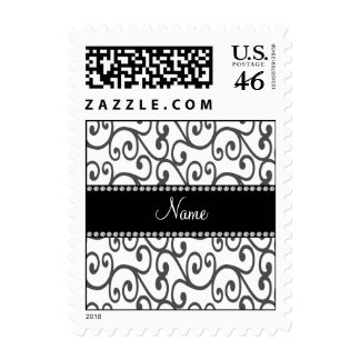 Personalized name white swirls postage stamps