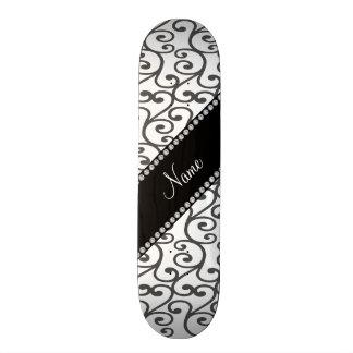 Personalized name white swirls skateboard deck