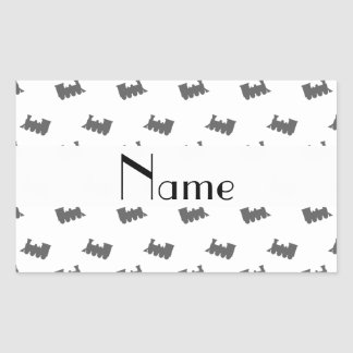 Personalized name white train pattern rectangular stickers