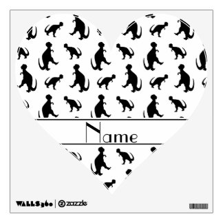 Personalized name white trex dinosaurs wall decals