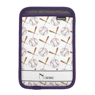 Personalized name white wooden bats baseballs iPad mini sleeve