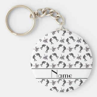 Personalized name white wrestlers keychain