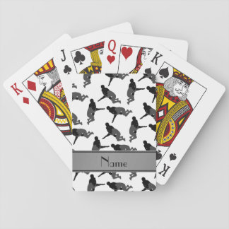 Personalized name white wrestling playing cards
