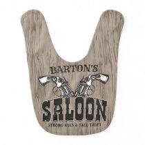Personalized NAME Wild West Gun Revolver Saloon Baby Bib