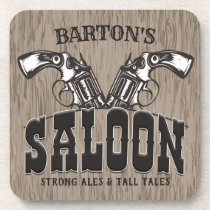 Personalized NAME Wild West Gun Revolver Saloon Beverage Coaster
