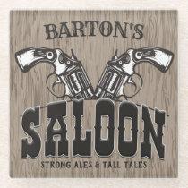 Personalized NAME Wild West Gun Revolver Saloon Glass Coaster