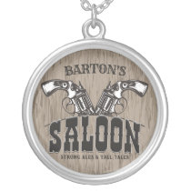 Personalized NAME Wild West Gun Revolver Saloon Silver Plated Necklace