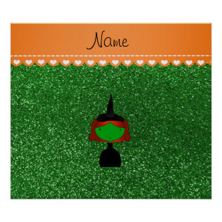 Personalized name witch green glitter poster