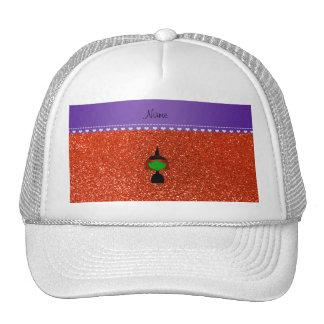 Personalized name witch neon orange glitter trucker hat