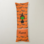 Personalized name witch orange bats body pillow