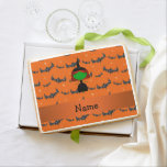 Personalized name witch orange bats jumbo cookie
