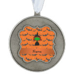 Personalized name witch orange bats scalloped pewter christmas ornament