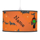 Personalized name witch orange bats hanging pendant lamps