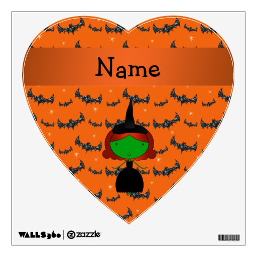 Personalized name witch orange bats wall decor