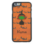 Personalized name witch orange bats carved® maple iPhone 6 slim case