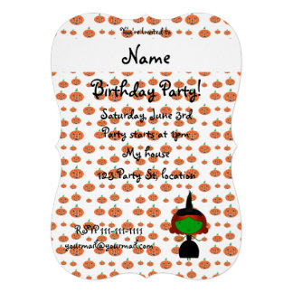 Personalized name witch orange pumpkins cards