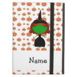 Personalized name witch orange pumpkins iPad case