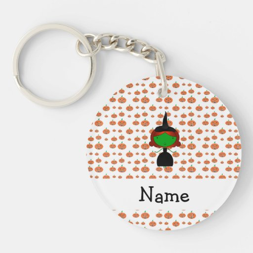 Personalized name witch orange pumpkins keychains