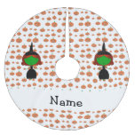 Personalized name witch orange pumpkins brushed polyester tree skirt