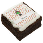 Personalized name witch orange pumpkins square brownie