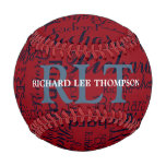 personalized name with initials monogram baseball