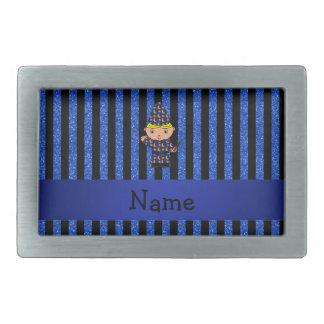 Personalized name wizard blue glitter stripes belt buckle