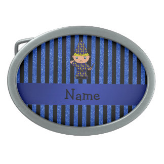 Personalized name wizard blue glitter stripes oval belt buckles