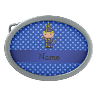 Personalized name wizard blue polka dots belt buckle