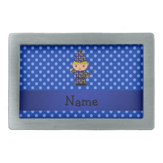 Personalized name wizard blue polka dots rectangular belt buckles