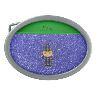 Personalized name wizard neon blue glitter oval belt buckle