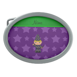 Personalized name wizard purple stars oval belt buckle
