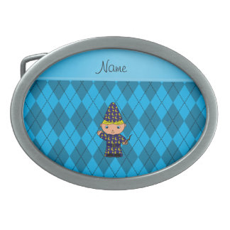 Personalized name wizard sky blue argyle belt buckles