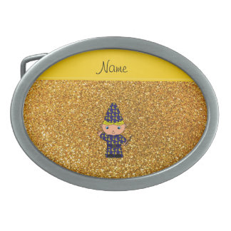 Personalized name wizard yellow glitter oval belt buckles